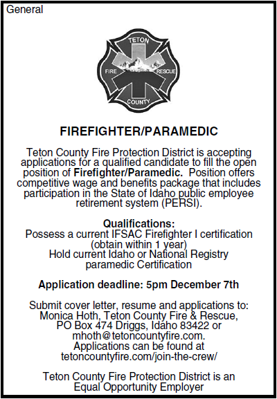 Teton County Fire Amp Rescue To Hire Firefighter Paramedic
