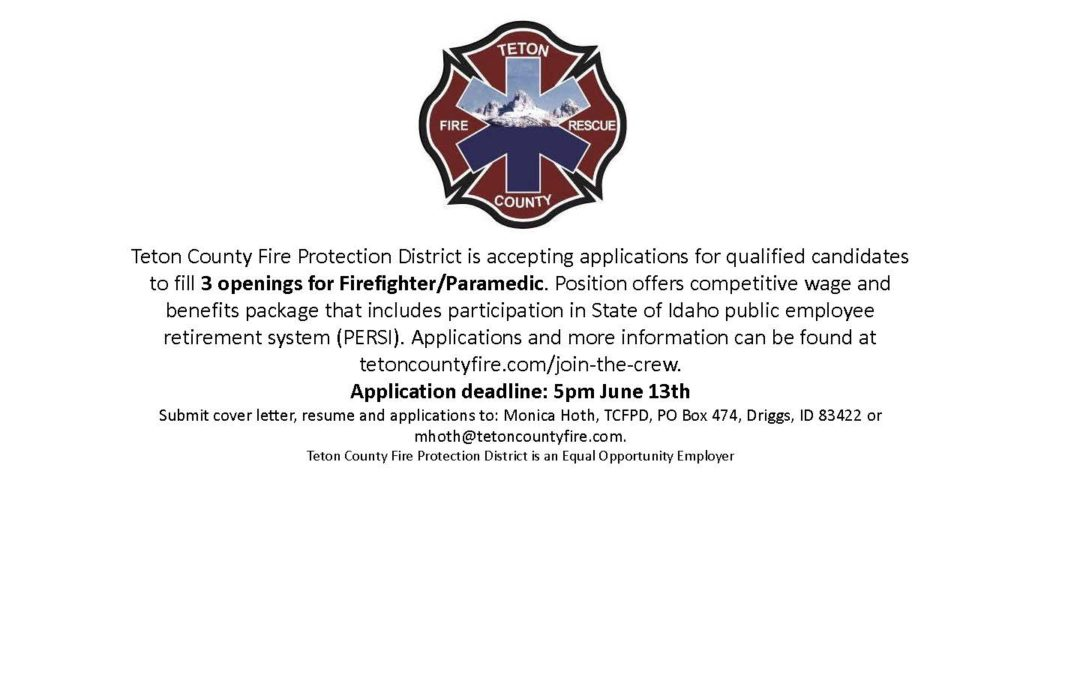 Accepting applications to fill 3 openings for Firefighter/Paramedic.